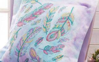 Схема вышивки перьев на подушке
