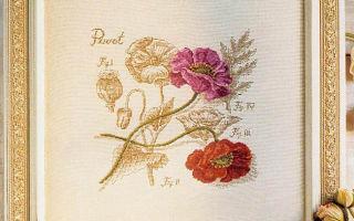 DFEA Ботаника: схема для вышивки крестом Маки