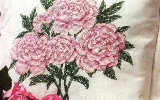 Схема вышивки пионов на подушке