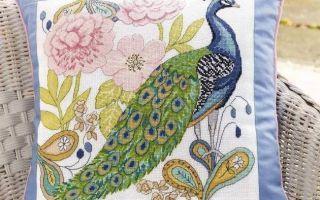Схема вышивки павлина на подушке