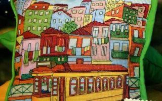 Схема для вышивки города на подушке