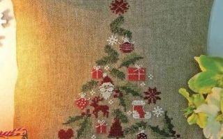Схема вышивки новогодней подушки