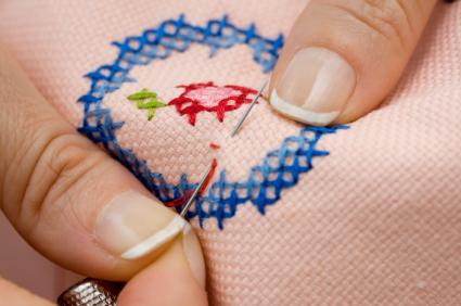 ткань вышивка крестиком