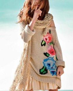 вышивка на вязаном