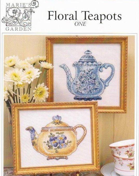 """Схема для вышивки Marie""""s garden: Floral Teapots"""