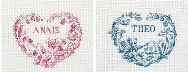 Схема для вышивки DMC: Heart First Name Frame
