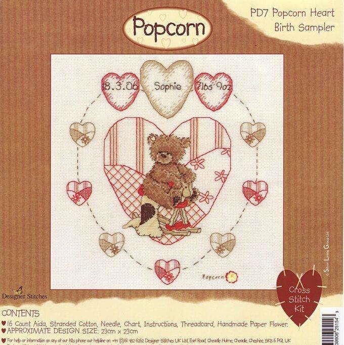 Схема вышивки метрики крестом Popcorn: Heart Birth Sampler