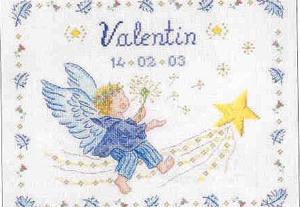 Схема вышивки детской метрики DMC: Little Angel