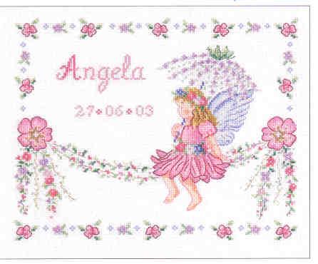 Схема вышивки детской метрики DMC: Little fairy