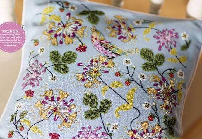 Схема для вышивки цветов на подушке