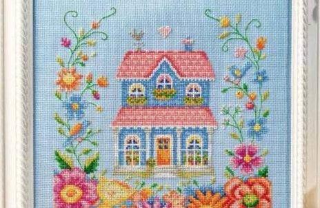 Схема для вышивки домика крестом